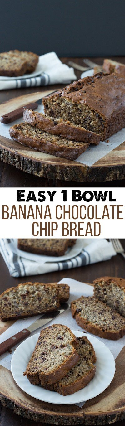 Easy Banana Chocolate Chip Bread - this one bowl banana bread recipe takes about 10 minutes to prep! It's one of the best banana bread recipes I've tried!