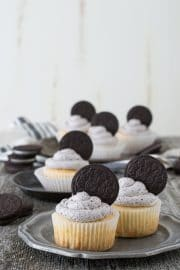 Three Easy Oreo Cupcakes on a small serving plate,