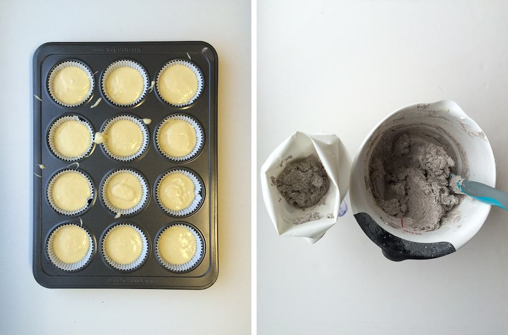 photo collage - cake mix in cupcake tin and oreo cupcake frosting.