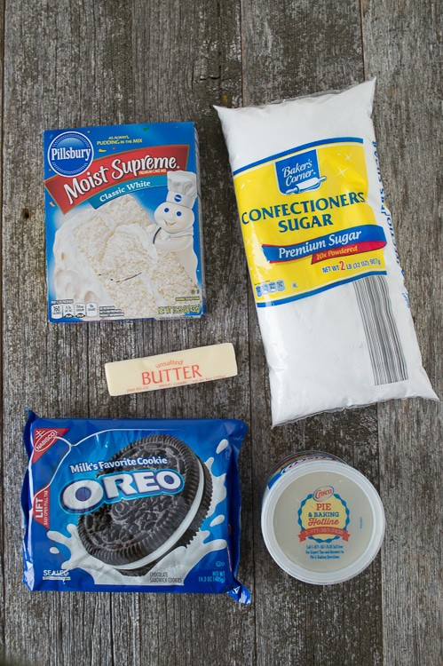 Easy Oreo Cupcakes ingredients - oreos, sugar and cake mix.