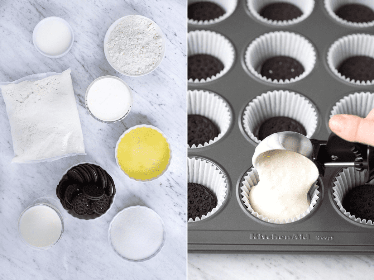 how to make oreo bottom cupcakes collage