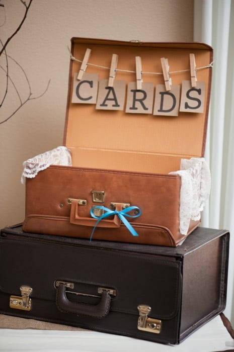 Rustic Wedding Suit Case Card Box