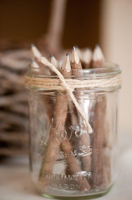 Rustic Wedding Wooden Pencils