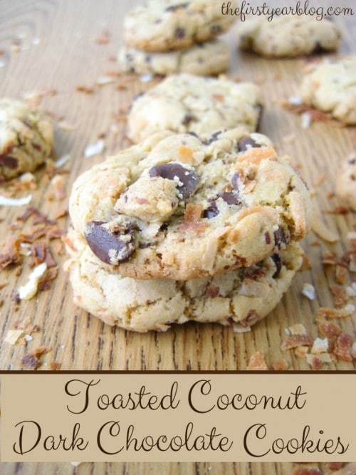 Toasted Coconut Dark Chocolate Cookies