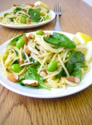 Spinach Edamame Pesto Pasta