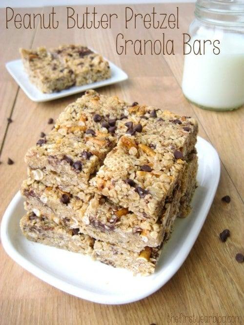 No Bake Peanut Butter Pretzel Granola Bars
