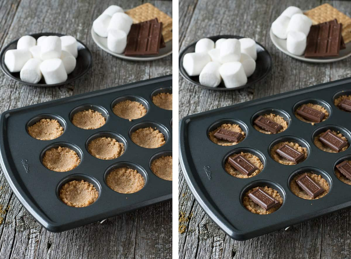 how to make s'mores bites in mini muffin pan collage