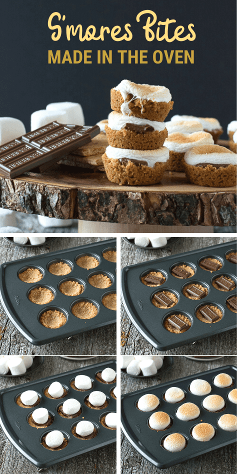 An easy S'mores recipe and one of our favorite desserts to make all year round. S'mores Bites are a twist on the classic s'mores dessert, make these little S'mores Bites in the oven! #smores #smoresbites #indoorsmores #muffinpansmores #smoresdessert