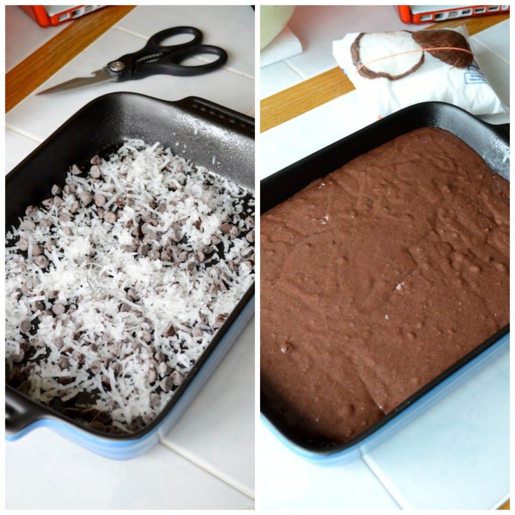 2 photos of ingredients in 9x13 inch cake pan - chocolate chips and coconut and cake batter