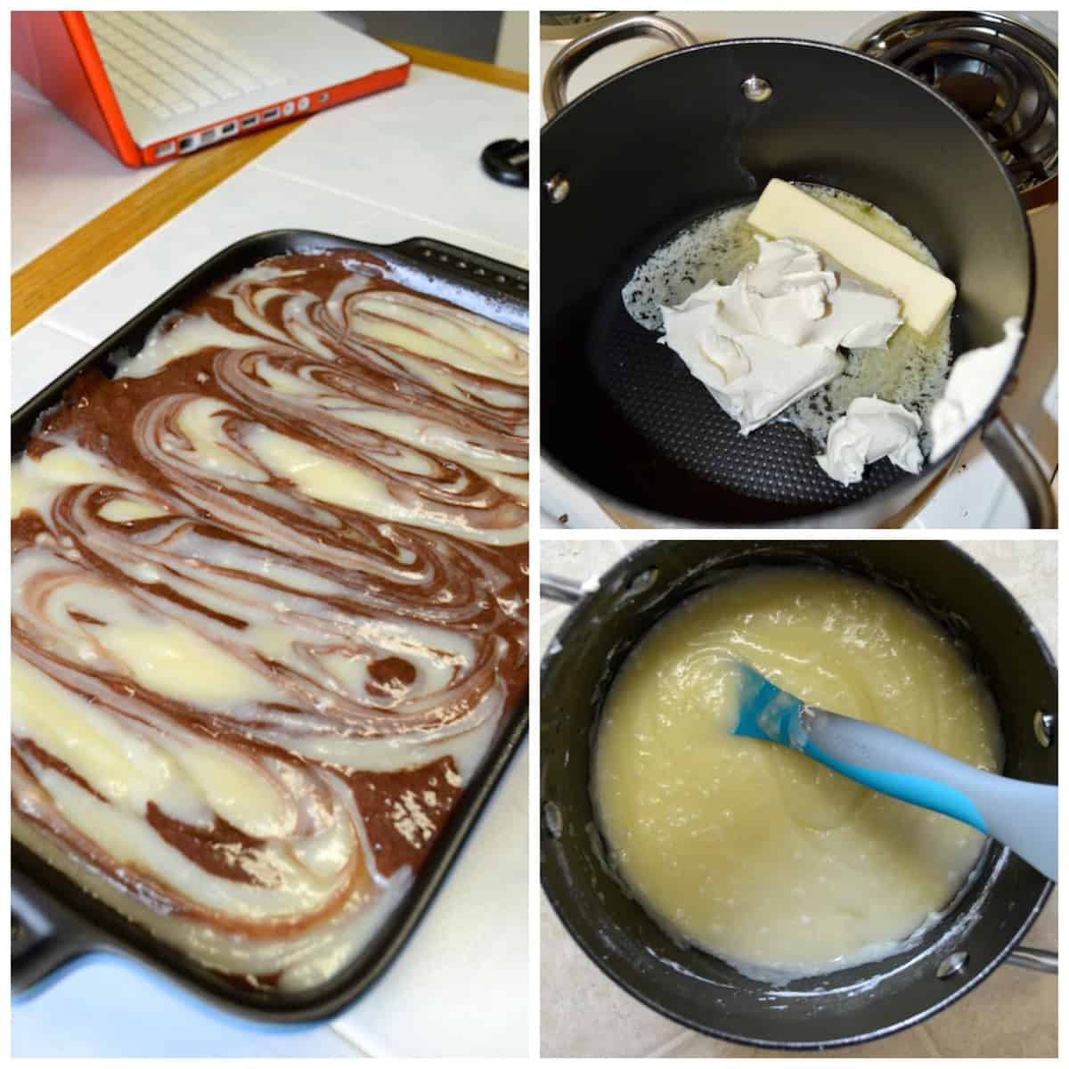 pot with cream cheese and butter, assembling earthquake cake