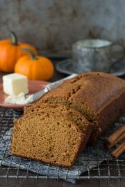 Sliced homemade Starbucks Pumpkin Pound Cake on a cooling rack.