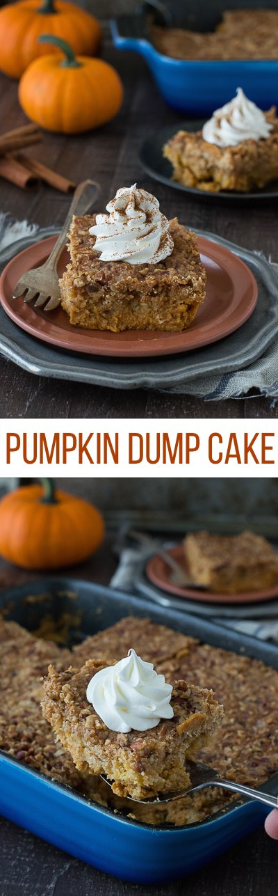 This pumpkin dump cake is the best fall dessert! Just mix, dump, and bake - it's ready in under 1 hour! This will be a family favorite!