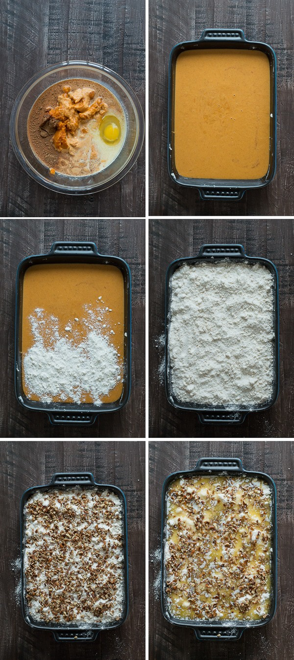 photo collage - Pumpkin Dump Cake ingredients being mixed in a blue casserole dish.