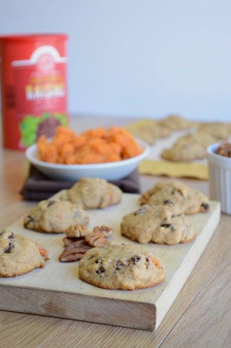 Sweet Potato Raisin Pecan Cookies