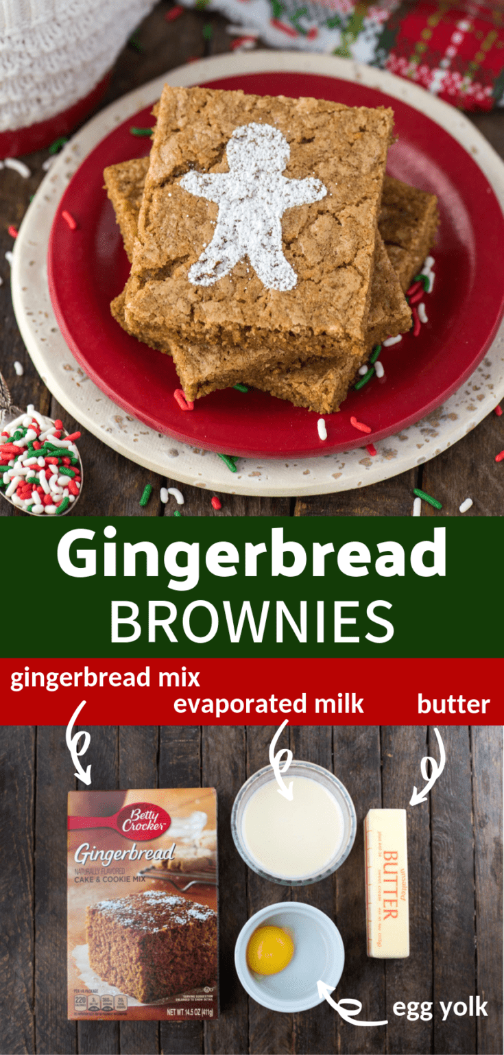 Use a box of gingerbread cake mix to make the easiest gingerbread brownies for Christmas! They take 5 minutes to prepare with only 4 ingredients. Dust them with powdered sugar in the shape of a gingerbread man or top them with frosting! #gingerbreadbrownies #gingerbreadbrowniescakemix #gingerbreadbrowniesboxmix #christmasbrownies