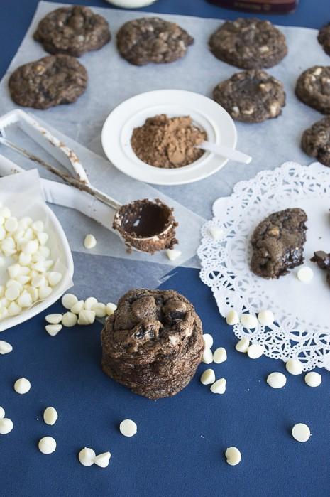 Double Fudge Oreo White Chocolate Chip Cookies