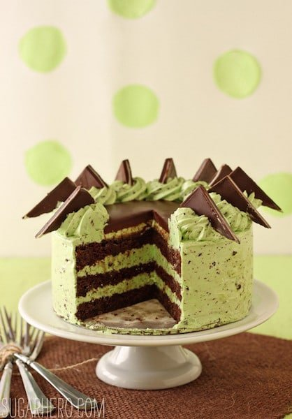 Mint Chocolate Chip Layer Cake on a cake platter.