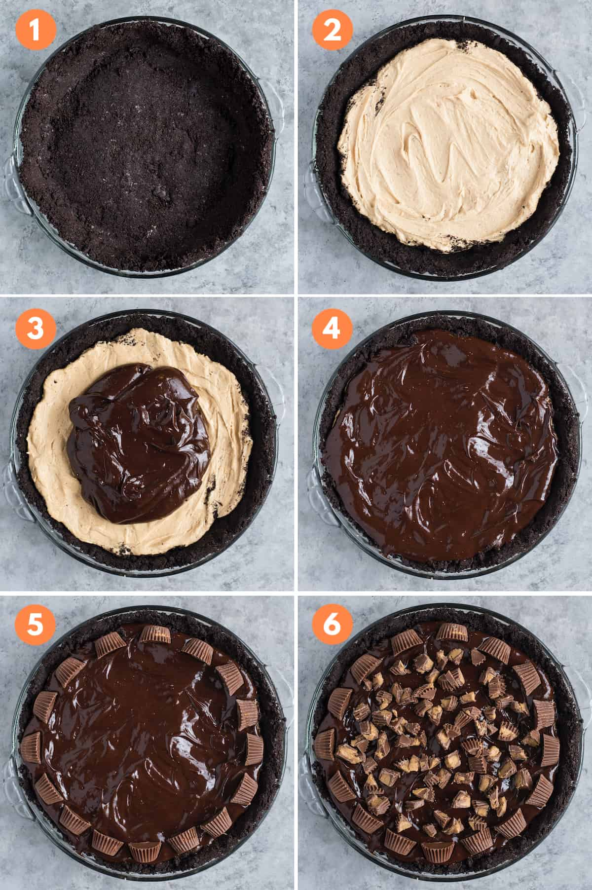 how to make chocolate peanut butter pie step by step collage