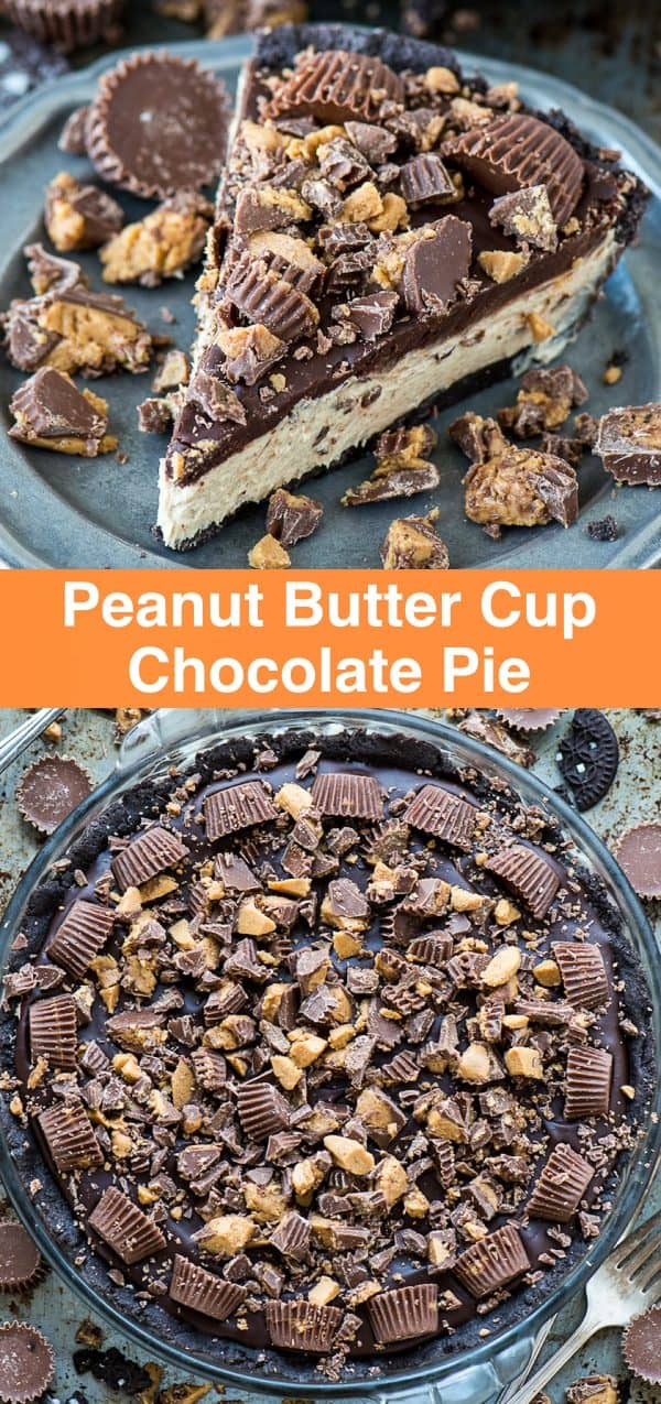 slice of peanut butter cup pie on metal plate