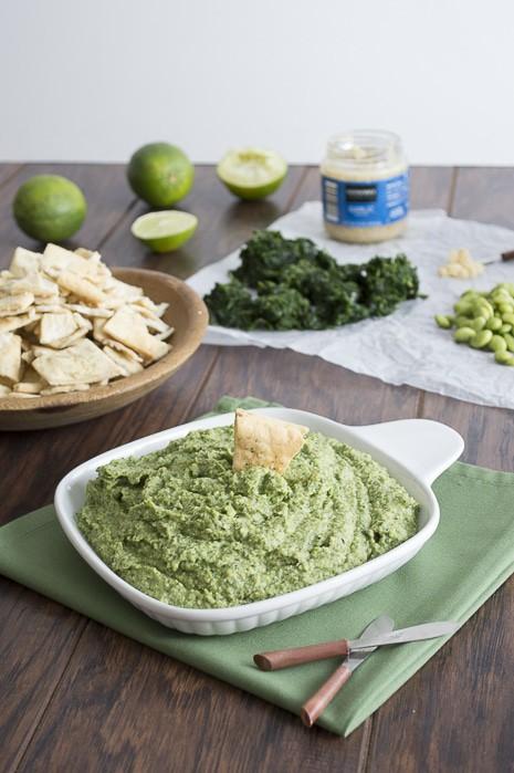 Spinach Edamame Garlic Hummus