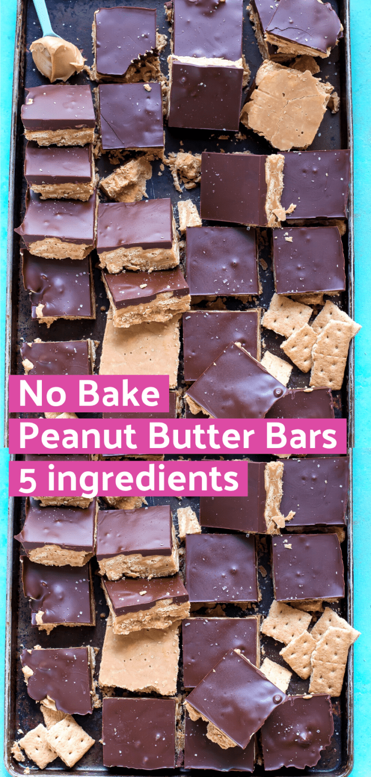 Peanut butter bars are an easy no bake dessert that's only 5 ingredients. We like this no bake chocolate peanut butter bar because the graham crackers are crushed, not blended into crumbs, and it gives the bars a nice crunch! #peanutbutterbars #nobake #chocolatepeanutbutterbars