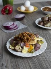 BBQ Chicken Roasted Vegetable Egg Scrambler | thefirstyearblog.com