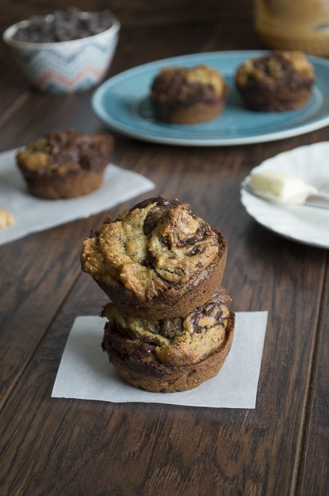 Peanut Butter Chocolate Swirl Banana Bread Muffins | thefirstyearblog.com