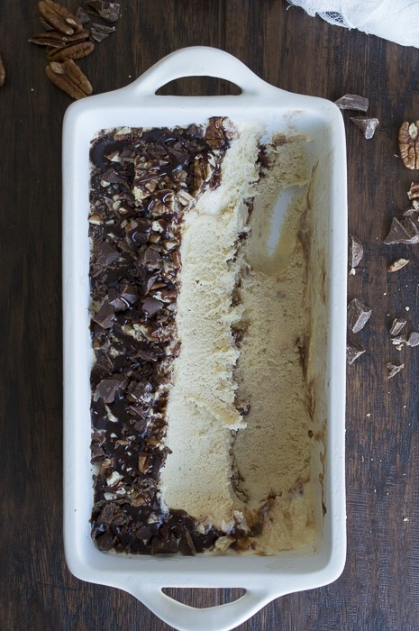 Banana Pecan Chocolate Chunk Hot Fudge Ice Cream | thefirstyearblog.com