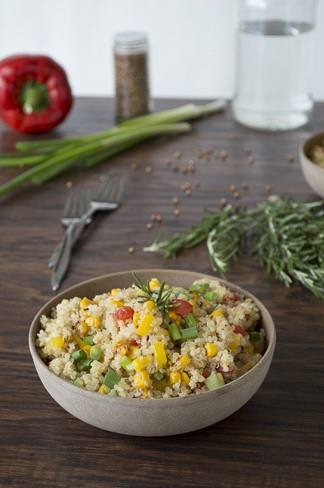 Quinoa and Bell Pepper Salad with Rosemary | thefirstyearblog.com