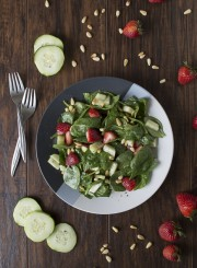 Spinach Salad with Strawberries + Pine Nuts | thefirstyearblog.com