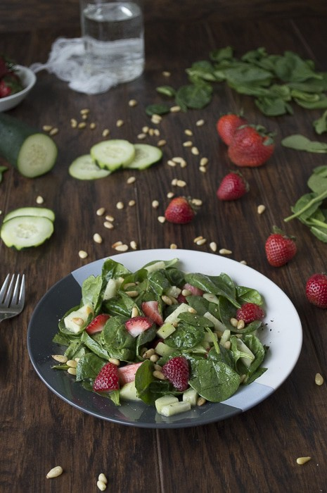 Spinach Salad with Strawberries + Roasted Pine Nuts | thefirstyearblog.com