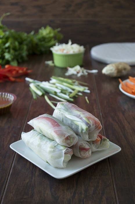 Vegetable Spring Rolls with Sesame Ginger Sauce | thefirstyearblog.com