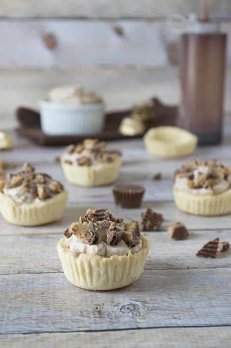 Mocha Mousse Tarts with Peanut Butter Cup Crumbles | thefirstyearblog.com