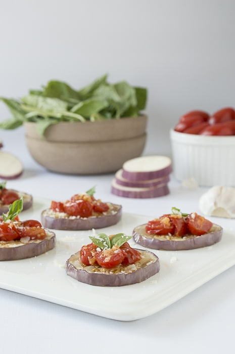 Garlicky Tomato and Eggplant Stacks | thefirstyearblog.com