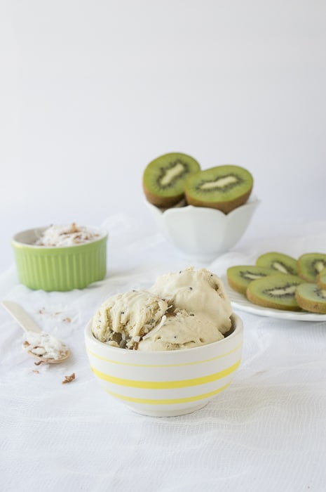 Kiwi Ice Cream with Oven Toasted Coconut   thefirstyearblog.com