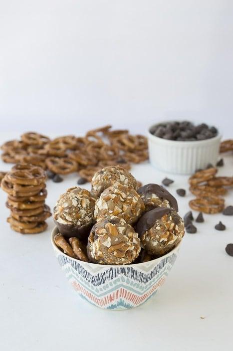 ... Chocolate Dipped Cookie Dough Pretzel Bites | thefirstyearblog.com