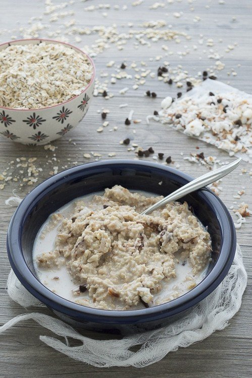 A delicious and healthy oatmeal made with coconut oil, toasted coconut, and a handful of mini chocolate chips. Use quick cooking oats and its ready in 5 minutes.