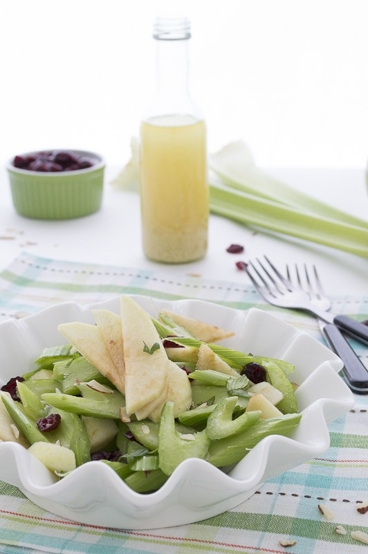 Green Apple and Celery Salad with Cranberries & Almonds - a healthy fall salad | thefirstyearblog.com #healthy #fallrecipe #salad