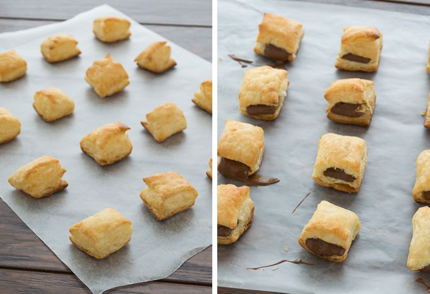 Puff pastry squares stuffed with your favorite chocolate bar and drizzled in sauce! A great treat to make with leftover halloween candy.