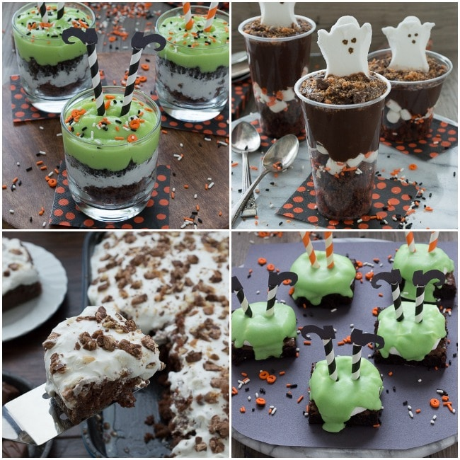 Halloween Treats from thefirstyearblog.com - melted witch pudding parfaits, boo pudding parfaits, candy bar cake, and melted witch brownies!