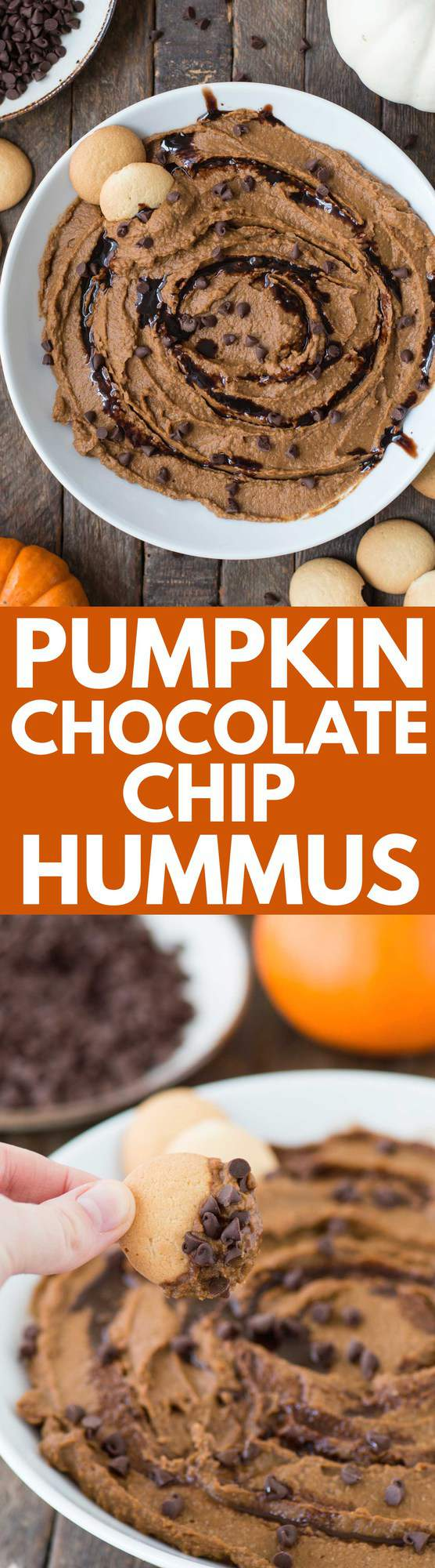 A healthier dessert hummus for the fall! Pumpkin chocolate chip hummus!