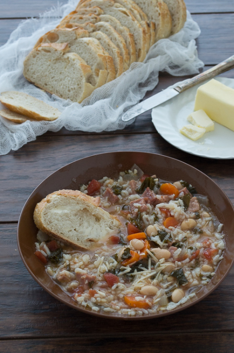 A hearty and healthy soup with rice, white beans, ham, kale, and your favorite vegetables. Naturally gluten free and one of our favorite recipes for the crock pot.