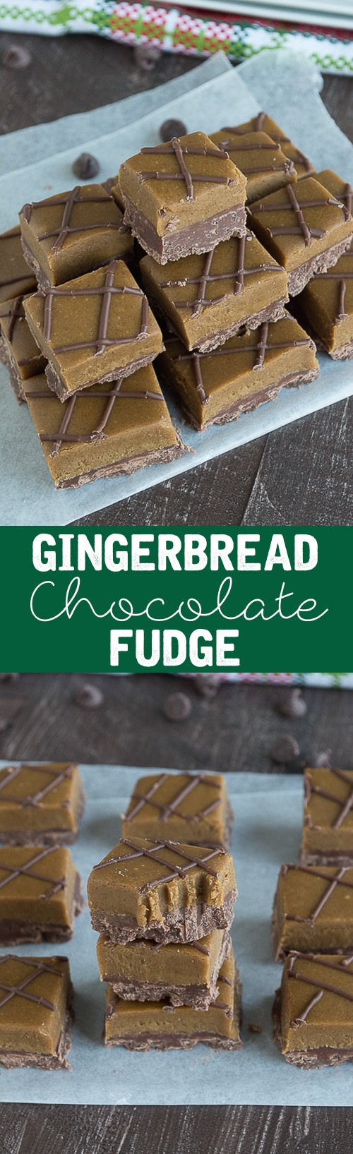 A rich chocolate fudge layer on the bottom and a sweet & spicy gingerbread fudge on top! This is perfect for the Holidays!
