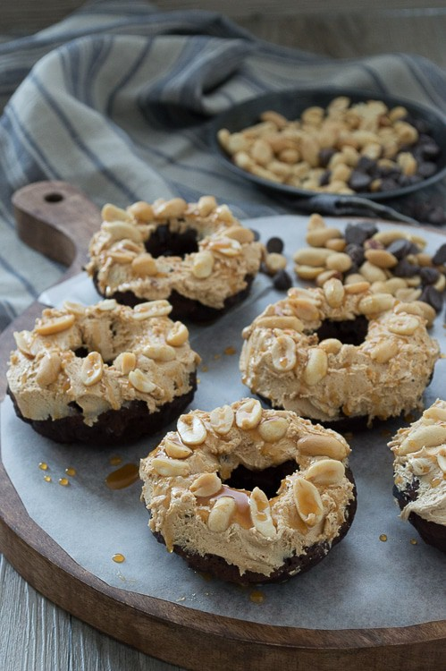A rich, chocolate donut with marshmallow peanut butter nougat topped with peanuts and caramel sauce. You need to make these, they are AMAZING!