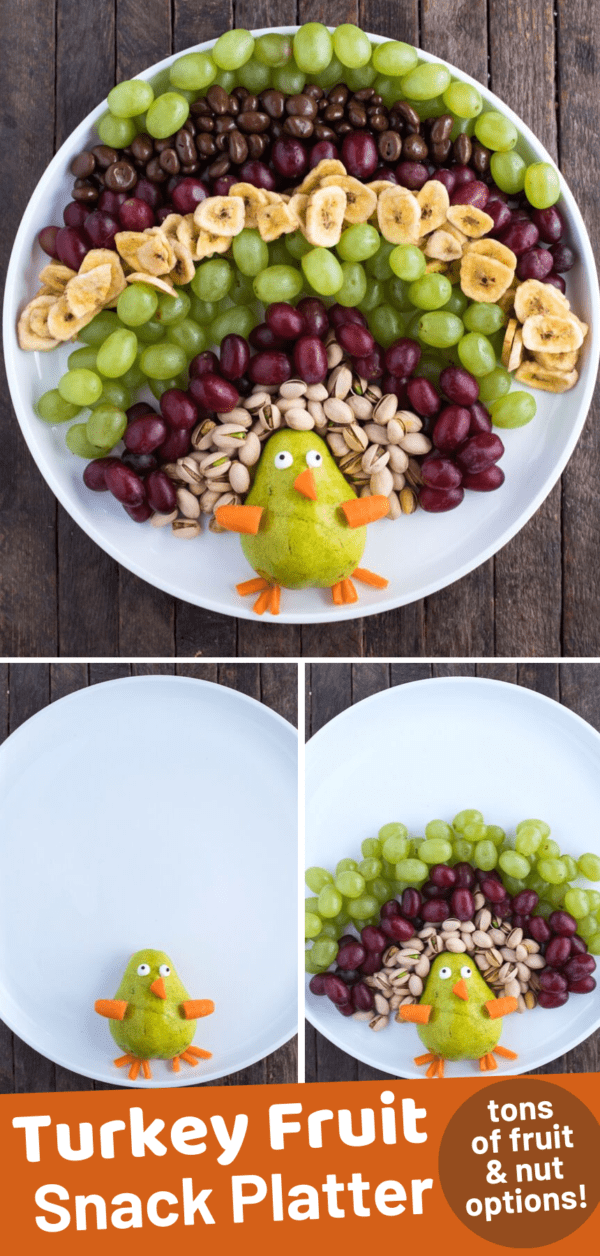 turkey shaped fruit tray with pistachios, grapes, banana chips, and pear and carrots on round white platter on wood background