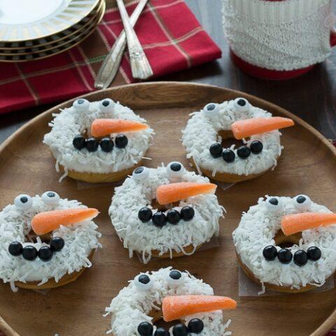 Caramel Coconut Snowmen Donuts