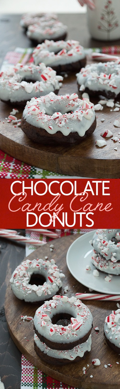 Baked chocolate donuts infused with peppermint flavor, topped with white chocolate and crushed candy canes.