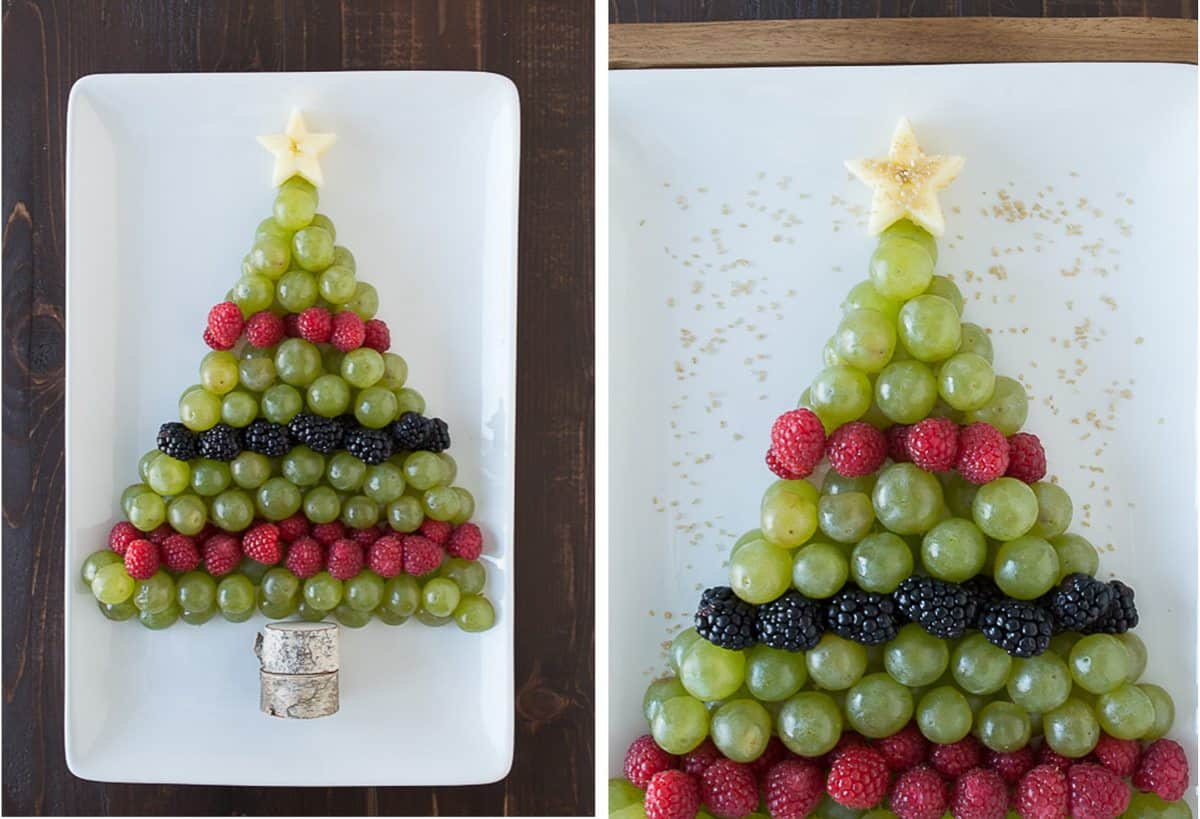 Create a healthy fruit platter for Christmas in the shape of a christmas tree using an apple, grapes, raspberries, blackberries, and graham crackers!