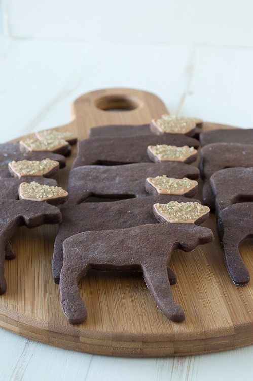 Use a moose cookie cutter to make these ADORABLE espresso chocolate moose sugar cookies!!