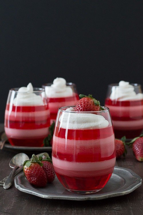 Layered Strawberry Jello Cups - a fun jello dessert to make for Valentine's Day!